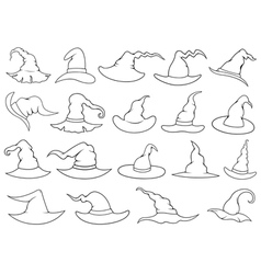 Set of different witch hats vector image vector image