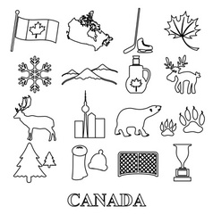 canada country theme symbols outline icons set vector image vector image
