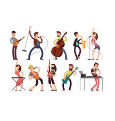 rock and pop musicians cartoon characters vector image vector image