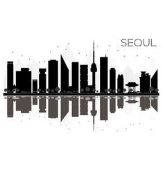 seoul city skyline black and white silhouette vector image vector image