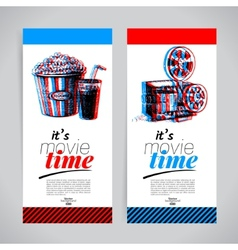 Set of movie banners Cinema festival tickets vector image