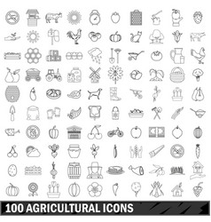 100 agricultural icons set outline style vector