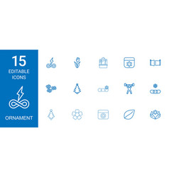15 ornament icons vector image