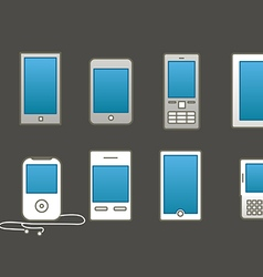 Abstract style modern and vintage mobile gadgets vector image