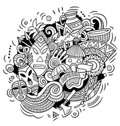 africa hand drawn cartoon doodles funny design vector image
