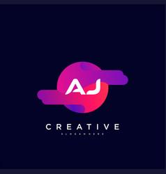 Aj initial letter logo icon design template vector