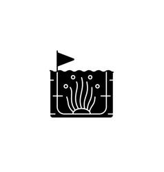 Algaculture black glyph icon vector