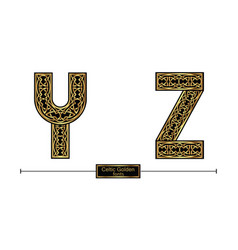alphabet celtic golden style in a set yz vector image