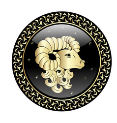 aries zodiac sign in circle frame vector image