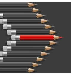 Arrow shape of dark grey pencils with one vector image