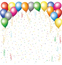 balloons confetti and serpantine vector image