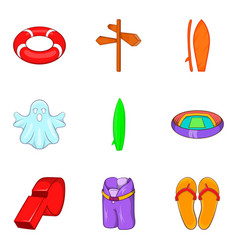 Beach activity icons set cartoon style vector