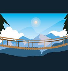 Beautiful landscape scene with suspension bridge vector