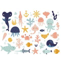 big set cute underwater animals vector image