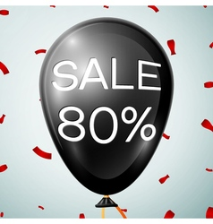 Black Baloon with text Sale 80 percent Discounts vector