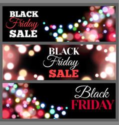 black friday sale horisontal banners bokeh lights vector image