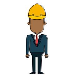 black man with helmet construction vector image