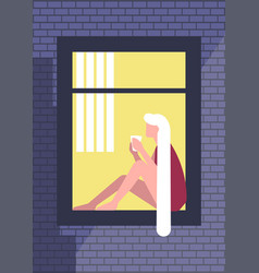 Blonde young woman sitting on a window sill vector