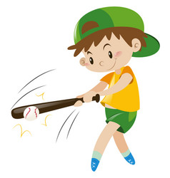 Boy hitting ball with wooden bat vector