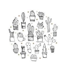 cacti circle line hand drawn set of cactus round vector image