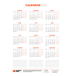 Calendar template for 2019 year week starts on vector