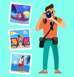 cameraman and his works pictures of merry couples vector image