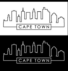 Cape town skyline linear style editable file vector