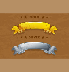 cartoon gold and silver ribbons vector image