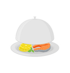 cartoon silver cloche with salmon lemon vector image
