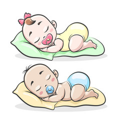 cartoon sleeping boy and girl vector image