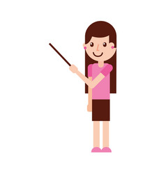 Cartoon teacher with pointer standing vector