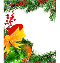 Christmas tree decorations with orange bow vector image