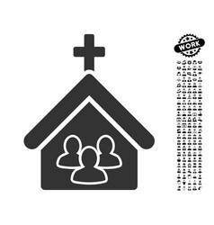 Church people icon with job bonus vector