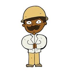 comic cartoon man in safari hat vector image