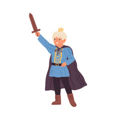 cute little boy in prince costume holding sword vector image