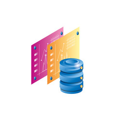 Data center disk with statistics webpage template vector