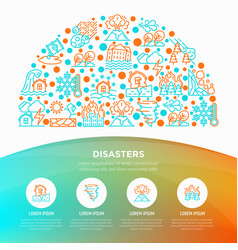 disasters concept in half circle with thin line vector image