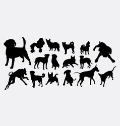 dog pet animal activity silhouette vector image