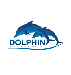 Dolphinarium dolphin logo resort and hotel vector