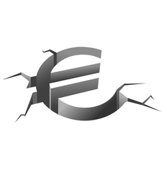 euro symbol in crash vector image