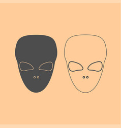 Extraterrestrial alien face or head dark grey set vector