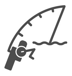 Fishing rod solid icon spinning vector