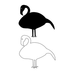 flamingo bird silhouette outline icon eps s vector image