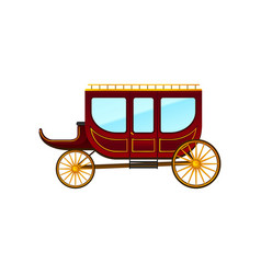flat icon of horse-drawn carriage with vector image
