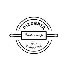 fresh dough pizza guarantee logo vector image vector image