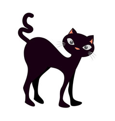 Funny black cat icon vector
