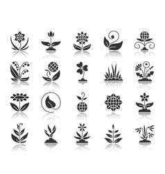 garden black silhouette icons set vector image