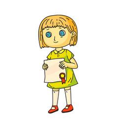 Girl holding diploma in hand standing on white vector