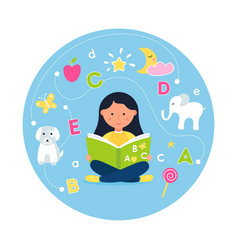 Girl reading abc book concept teaching reading vector