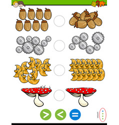 Greater less or equal educational puzzle vector